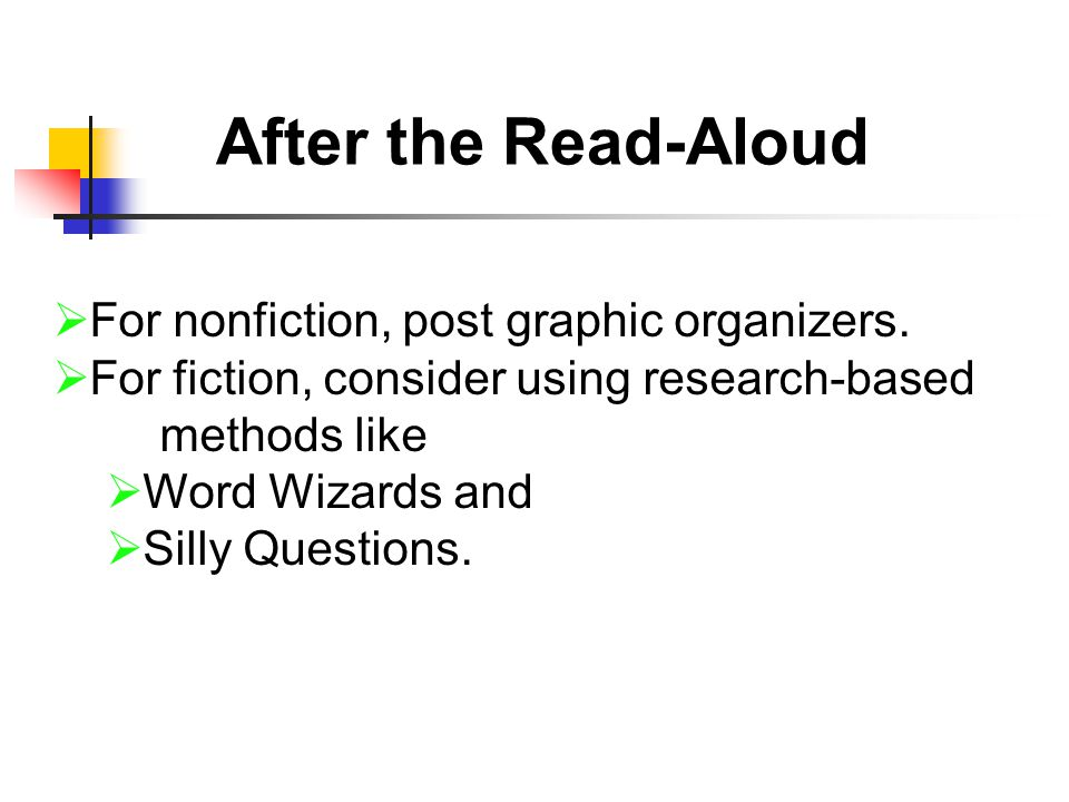 After the Read-Aloud  For nonfiction, post graphic organizers.