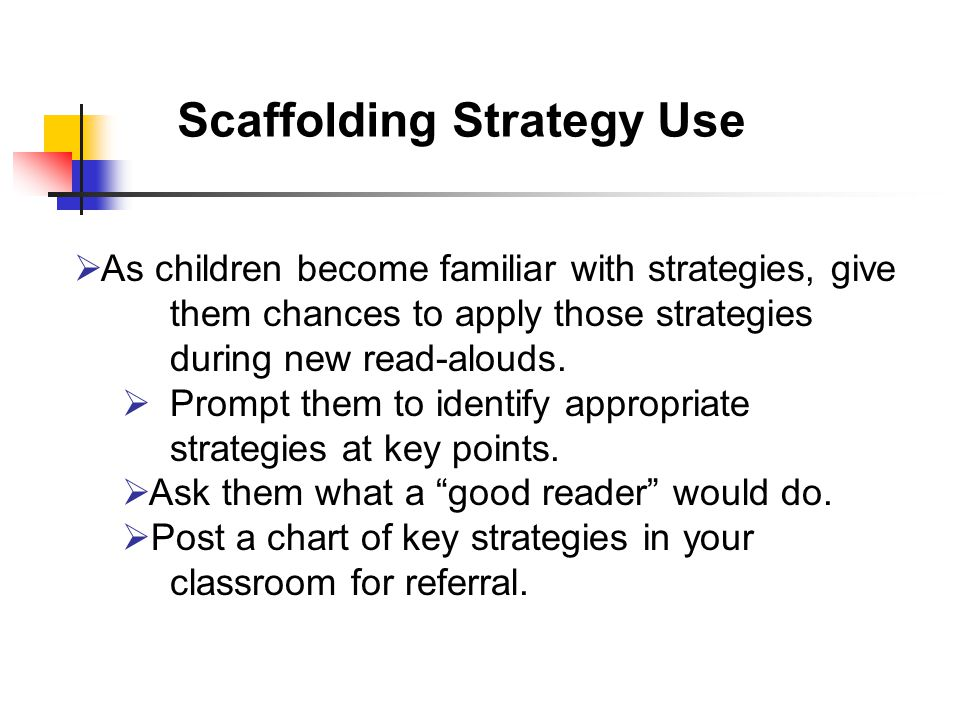 Scaffolding Strategy Use  As children become familiar with strategies, give them chances to apply those strategies during new read-alouds.