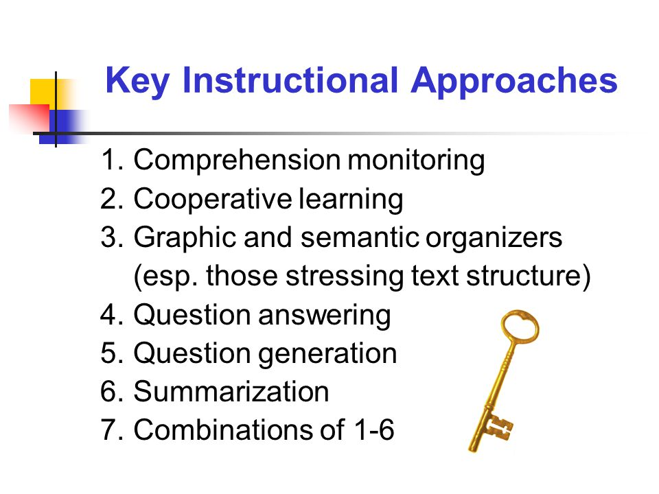 1.Comprehension monitoring 2.Cooperative learning 3.Graphic and semantic organizers (esp.