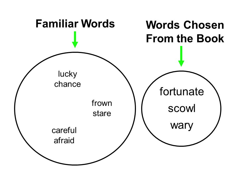 fortunate scowl wary Familiar Words Words Chosen From the Book lucky chance frown stare careful afraid