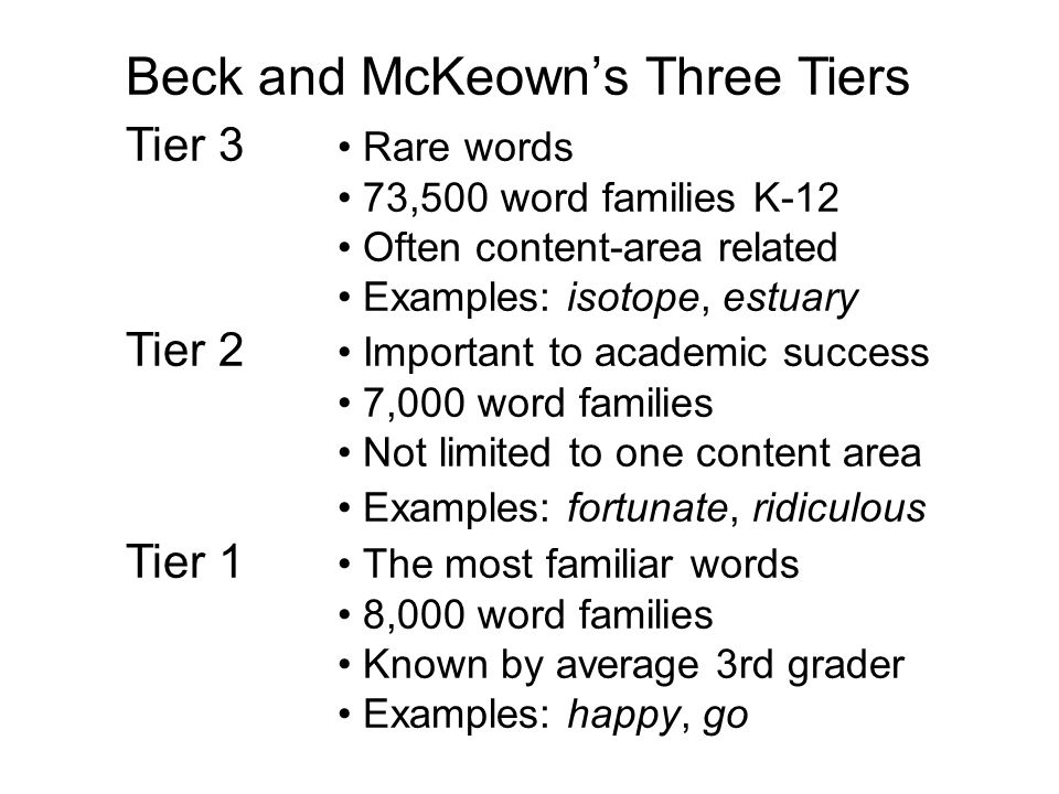 Beck and McKeown's Three Tiers Tier 3 Rare words 73,500 word families K-12 Often content-area related Examples: isotope, estuary Tier 2 Important to academic success 7,000 word families Not limited to one content area Examples: fortunate, ridiculous Tier 1 The most familiar words 8,000 word families Known by average 3rd grader Examples: happy, go