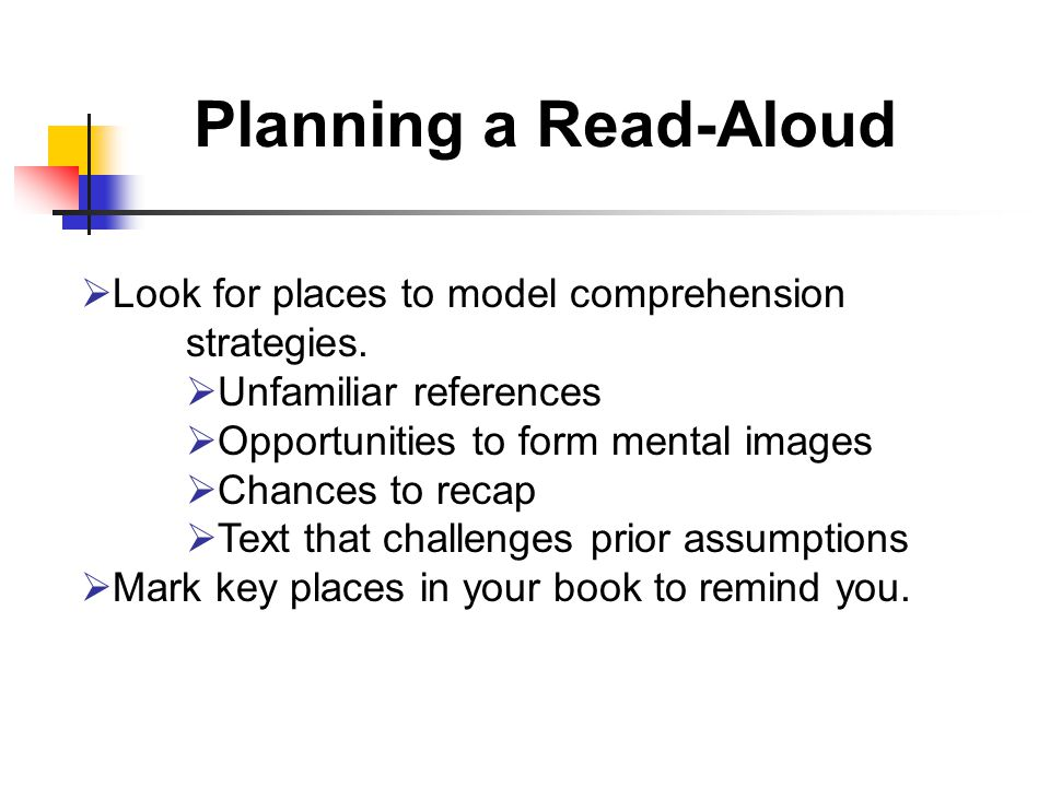 Planning a Read-Aloud  Look for places to model comprehension strategies.