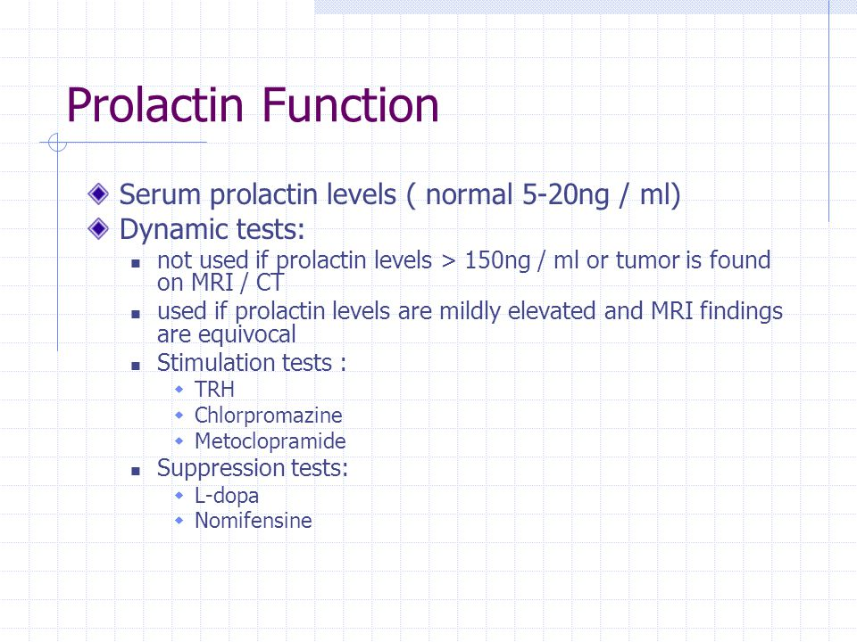 Prolactin Function Serum prolactin levels ( normal 5-20ng / ml) Dynamic tests: not used if prolactin levels > 150ng / ml or tumor is found on MRI / CT
