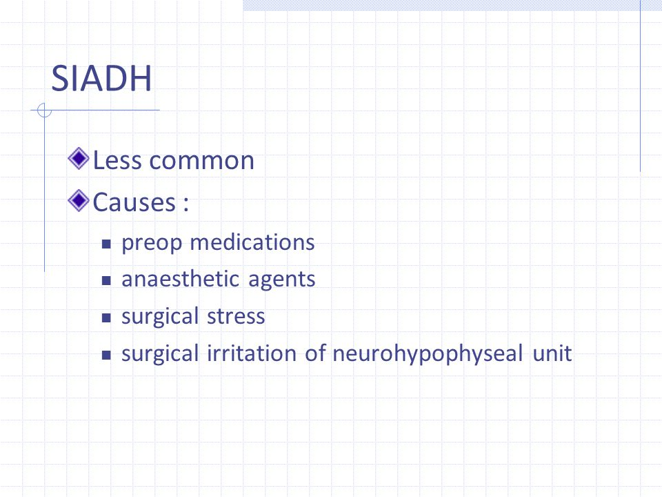 SIADH Less common Causes : preop medications anaesthetic agents surgical stress surgical irritation of neurohypophyseal unit