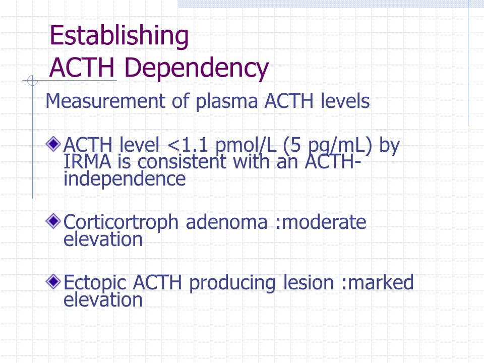 Establishing ACTH Dependency Measurement of plasma ACTH levels ACTH level <1.1 pmol/L (5 pg/mL) by IRMA is consistent with an ACTH- independence Corti