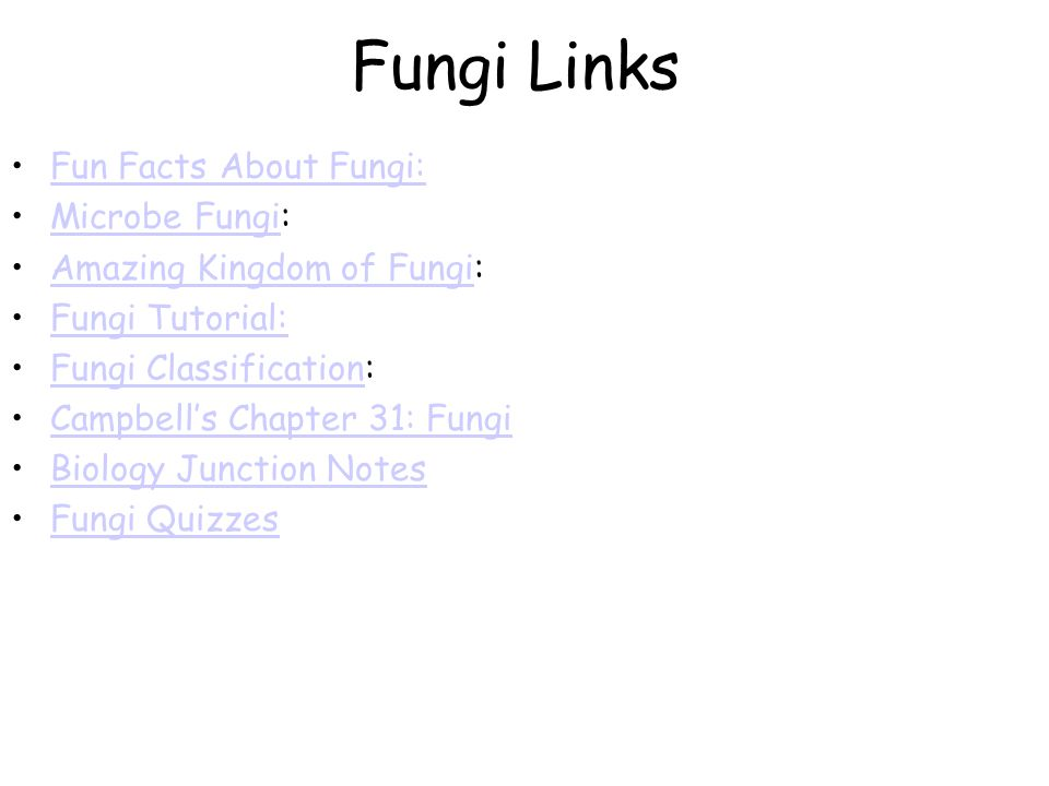 Fungi Links Fun Facts About Fungi: Microbe Fungi:Microbe Fungi Amazing Kingdom of Fungi:Amazing Kingdom of Fungi Fungi Tutorial: Fungi Classification:Fungi Classification Campbell's Chapter 31: Fungi Biology Junction Notes Fungi Quizzes