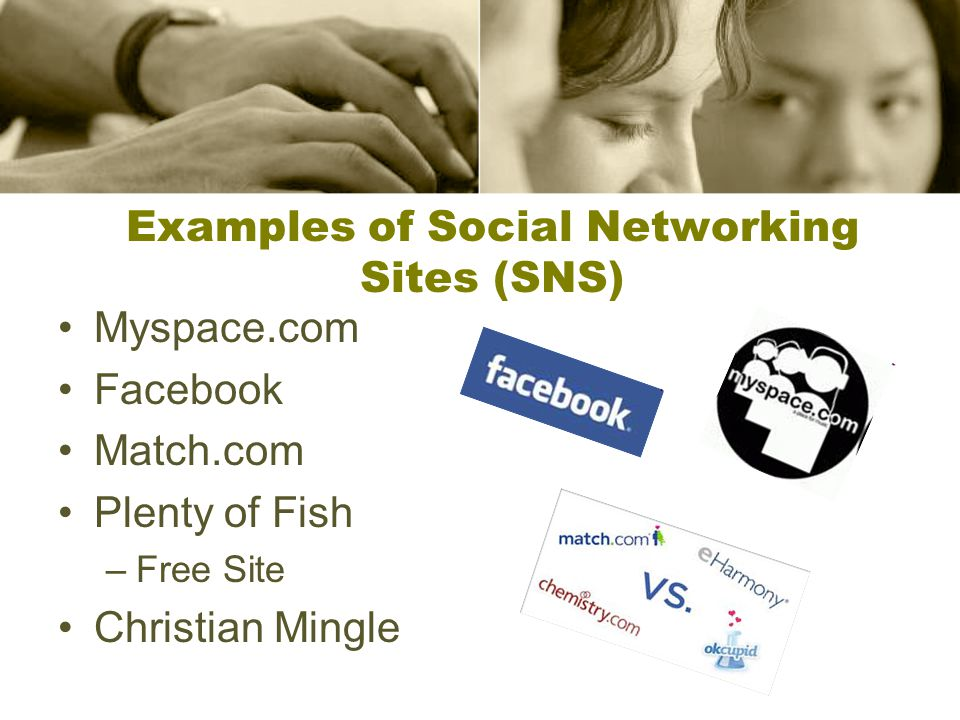 Examples of Social Networking Sites (SNS) Myspace.com Facebook Match.com Plenty of Fish –Free Site Christian Mingle