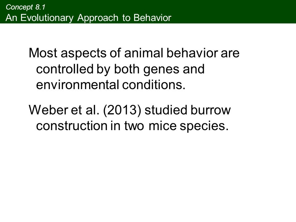Concept 8.1 An Evolutionary Approach to Behavior Most aspects of animal behavior are controlled by both genes and environmental conditions. Weber et a