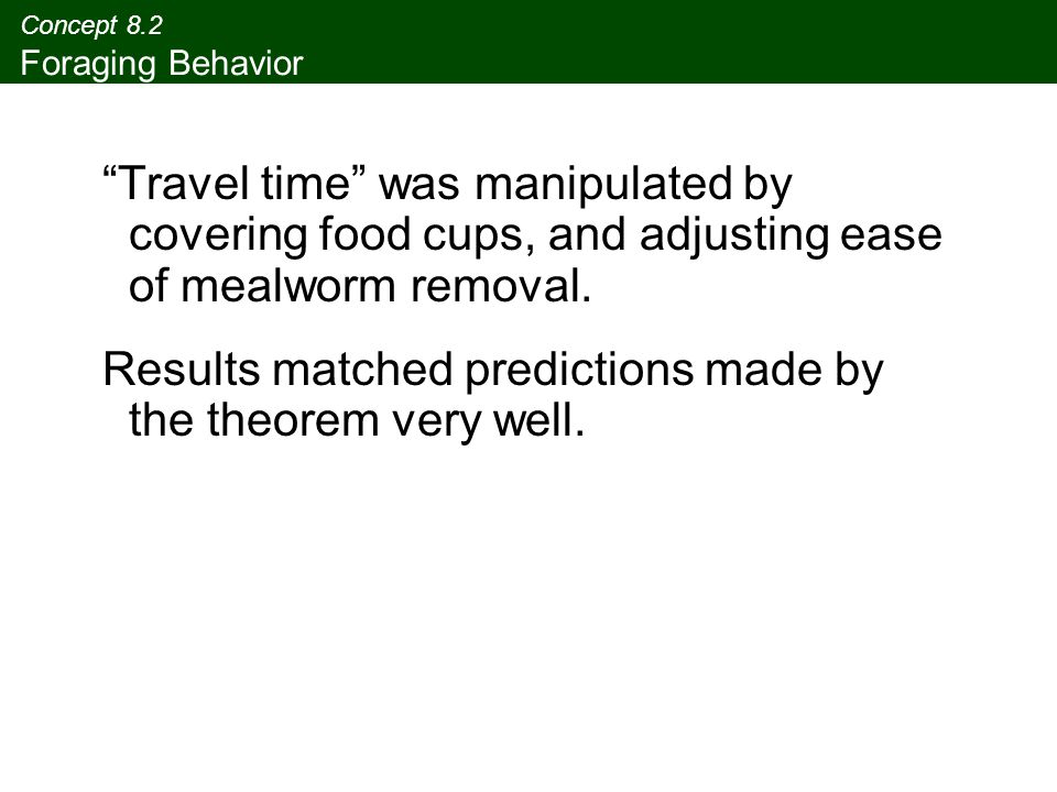 """Concept 8.2 Foraging Behavior """"Travel time"""" was manipulated by covering food cups, and adjusting ease of mealworm removal. Results matched predictions"""