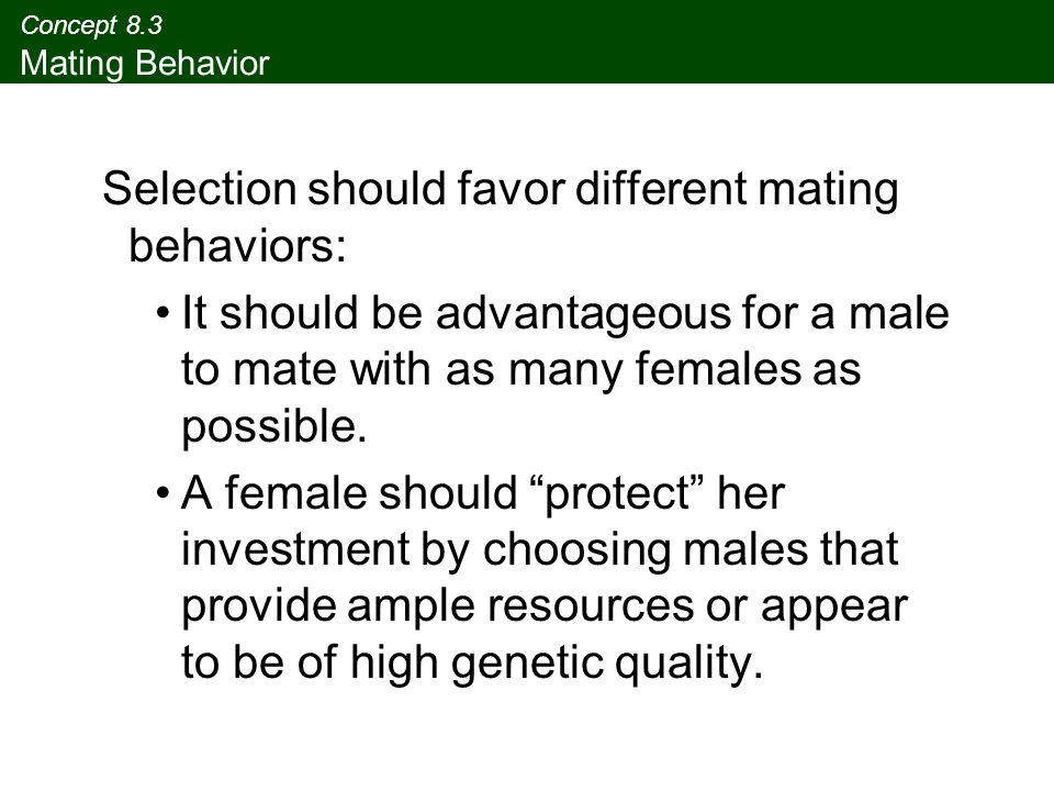 Concept 8.3 Mating Behavior Selection should favor different mating behaviors: It should be advantageous for a male to mate with as many females as po
