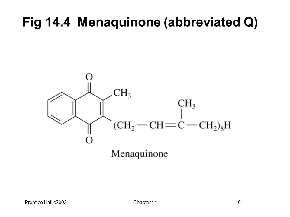 Prentice Hall c2002Chapter 1410 Fig 14.4 Menaquinone (abbreviated Q)