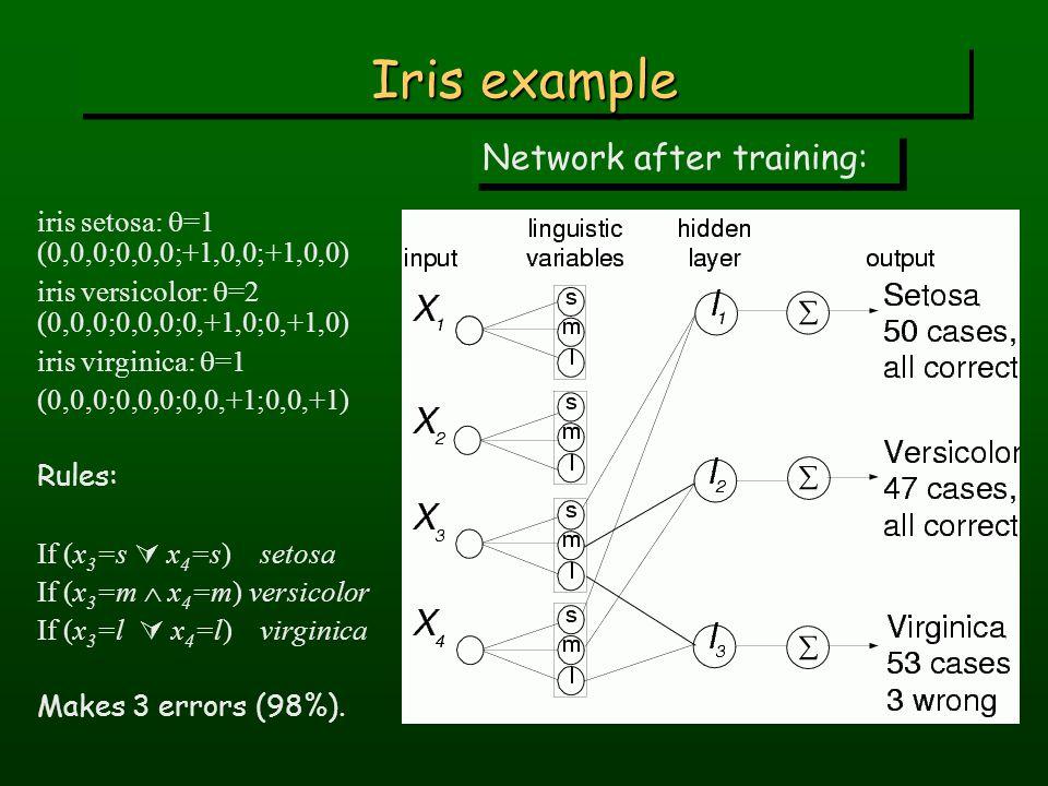 Iris example Network after training: iris setosa:  =1 (0,0,0;0,0,0;+1,0,0;+1,0,0) iris versicolor:  =2 (0,0,0;0,0,0;0,+1,0;0,+1,0) iris virginica:  =1 (0,0,0;0,0,0;0,0,+1;0,0,+1) Rules: If (x 3 =s  x 4 =s) setosa If (x 3 =m  x 4 =m) versicolor If (x 3 =l  x 4 =l) virginica Makes 3 errors (98%).