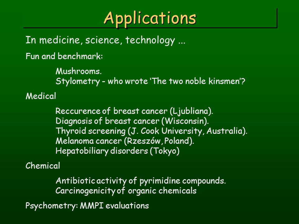 ApplicationsApplications In medicine, science, technology...