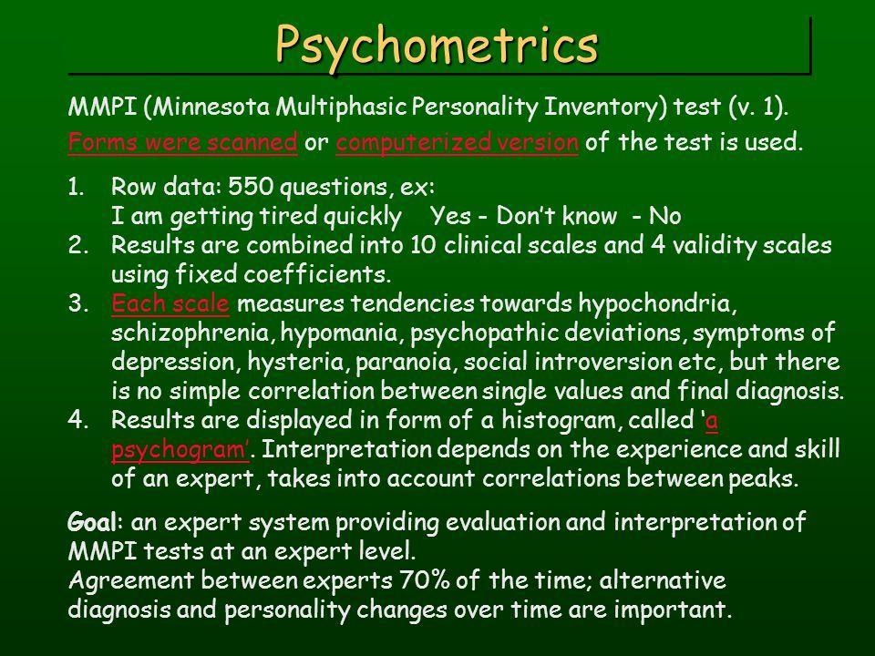 PsychometricsPsychometrics MMPI (Minnesota Multiphasic Personality Inventory) test (v.