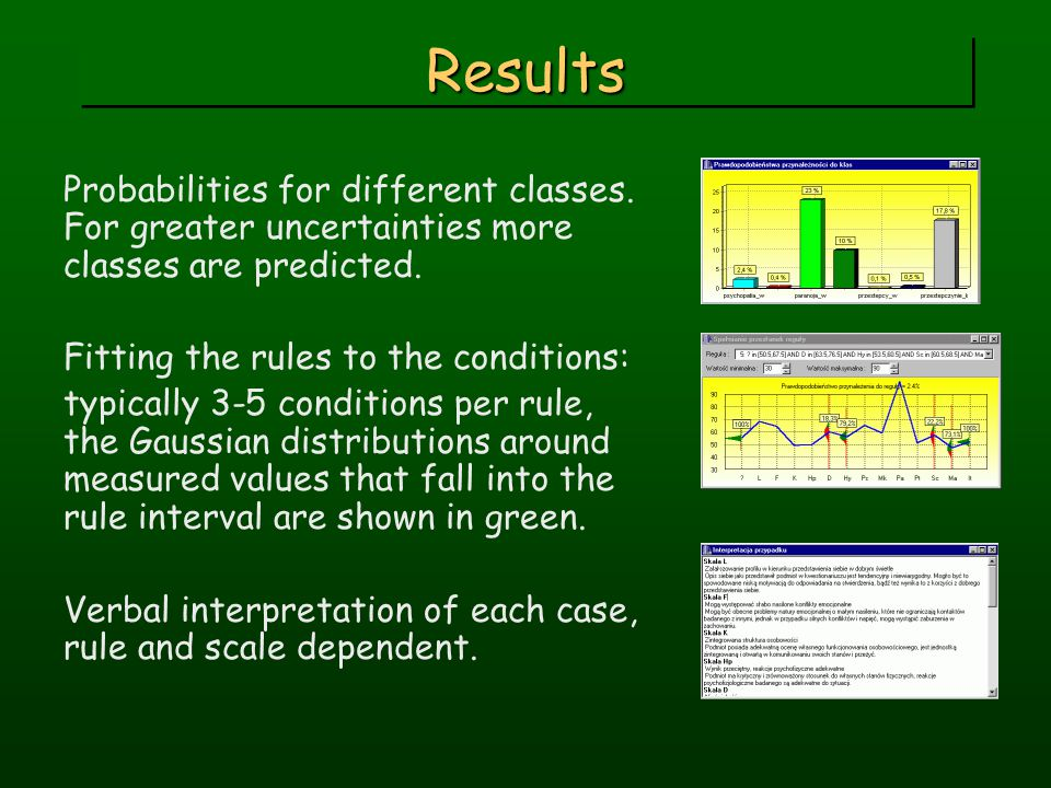 ResultsResults Probabilities for different classes. For greater uncertainties more classes are predicted. Fitting the rules to the conditions: typical