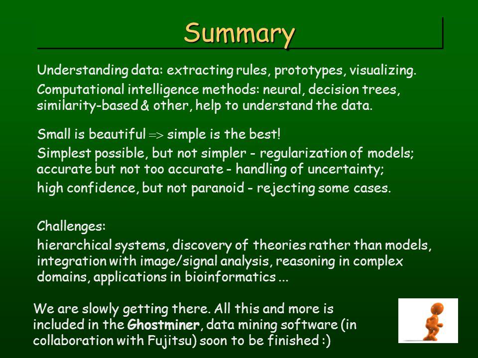 SummarySummary Understanding data: extracting rules, prototypes, visualizing.