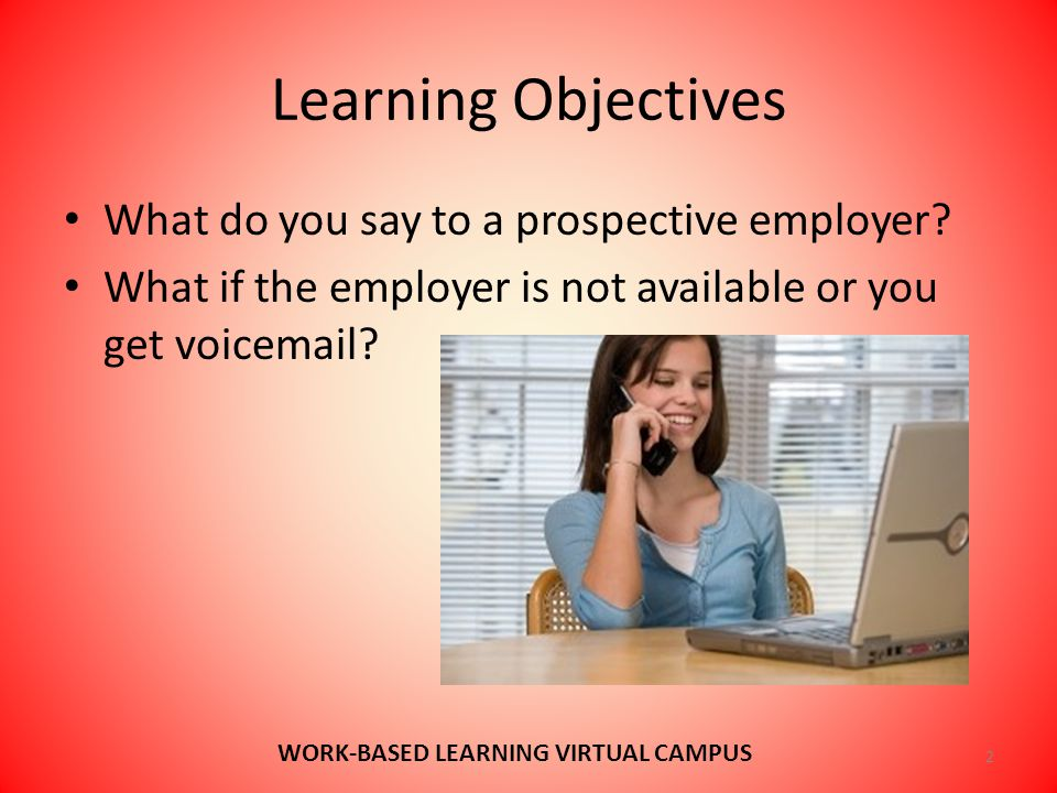 Learning Objectives What do you say to a prospective employer.