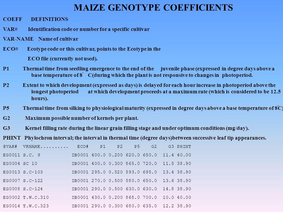 COEFF DEFINITIONS VAR# Identification code or number for a specific cultivar VAR-NAME Name of cultivar ECO# Ecotype code or this cultivar, points to t