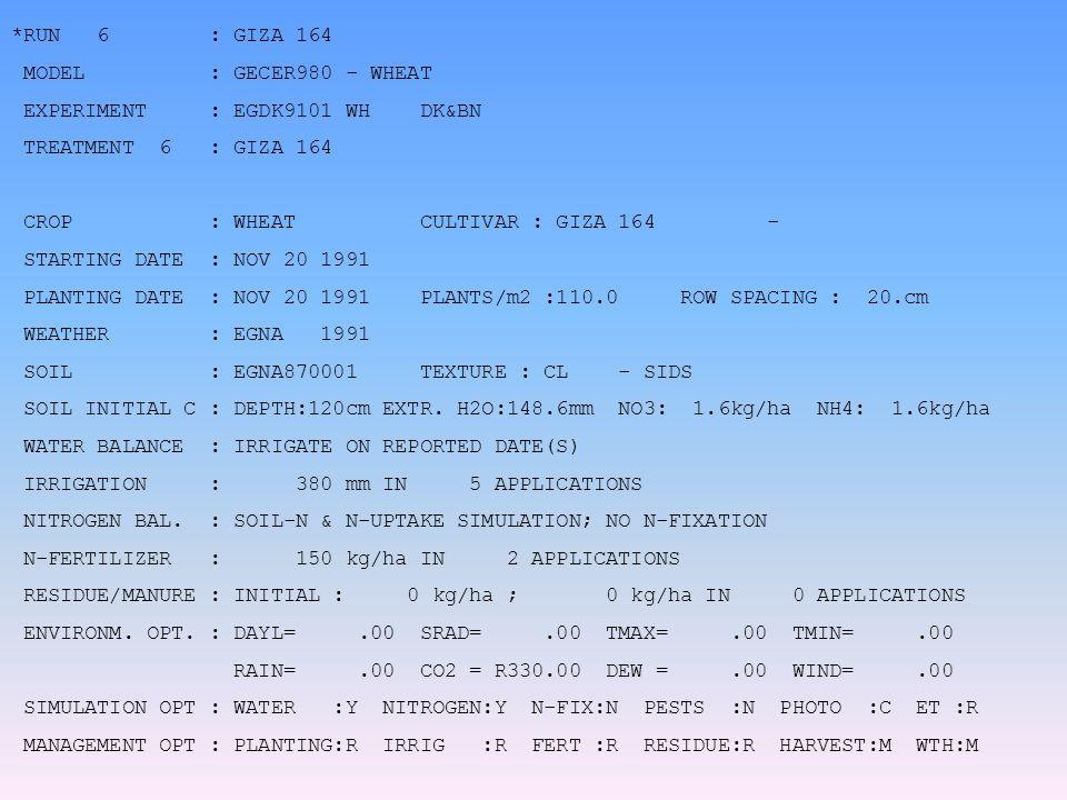 *RUN 6 : GIZA 164 MODEL : GECER980 - WHEAT EXPERIMENT : EGDK9101 WH DK&BN TREATMENT 6 : GIZA 164 CROP : WHEAT CULTIVAR : GIZA 164 - STARTING DATE : NOV 20 1991 PLANTING DATE : NOV 20 1991 PLANTS/m2 :110.0 ROW SPACING : 20.cm WEATHER : EGNA 1991 SOIL : EGNA870001 TEXTURE : CL - SIDS SOIL INITIAL C : DEPTH:120cm EXTR.