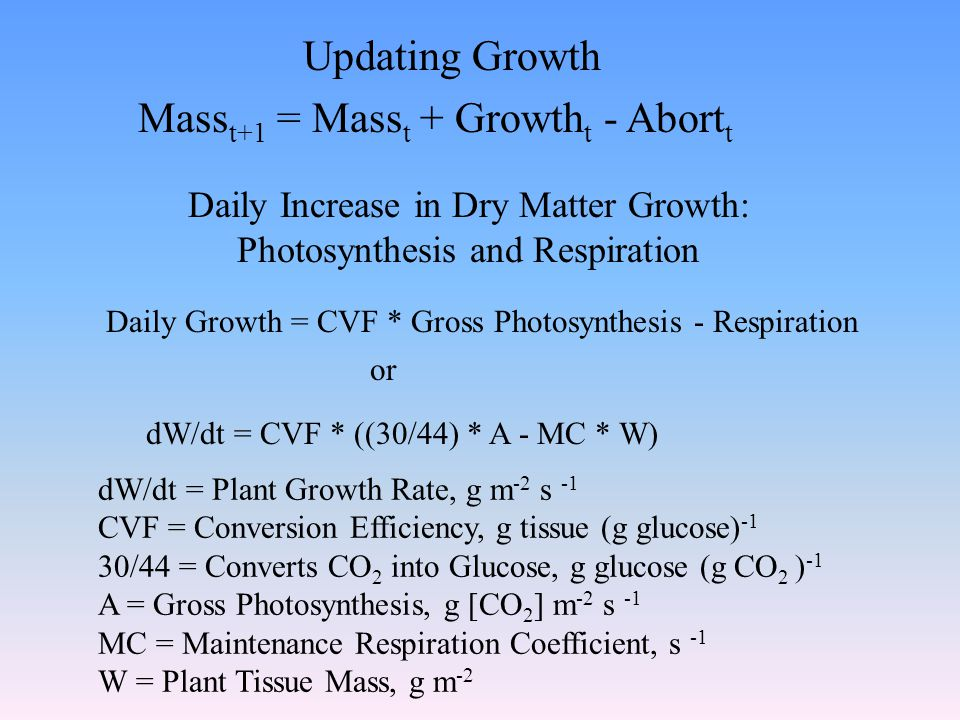 Daily Increase in Dry Matter Growth: Photosynthesis and Respiration Daily Growth = CVF * Gross Photosynthesis - Respiration dW/dt = CVF * ((30/44) * A - MC * W) dW/dt = Plant Growth Rate, g m -2 s -1 CVF = Conversion Efficiency, g tissue (g glucose) -1 30/44 = Converts CO 2 into Glucose, g glucose (g CO 2 ) -1 A = Gross Photosynthesis, g [CO 2 ] m -2 s -1 MC = Maintenance Respiration Coefficient, s -1 W = Plant Tissue Mass, g m -2 or Updating Growth Mass t+1 = Mass t + Growth t - Abort t