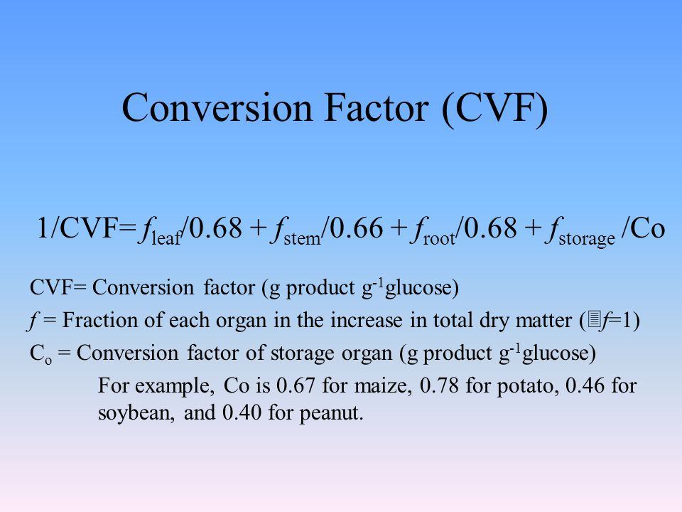 Conversion Factor (CVF) 1/CVF= f leaf /0.68 + f stem /0.66 + f root /0.68 + f storage /Co CVF= Conversion factor (g product g -1 glucose) f = Fraction of each organ in the increase in total dry matter (  f=1) C o = Conversion factor of storage organ (g product g -1 glucose) For example, Co is 0.67 for maize, 0.78 for potato, 0.46 for soybean, and 0.40 for peanut.
