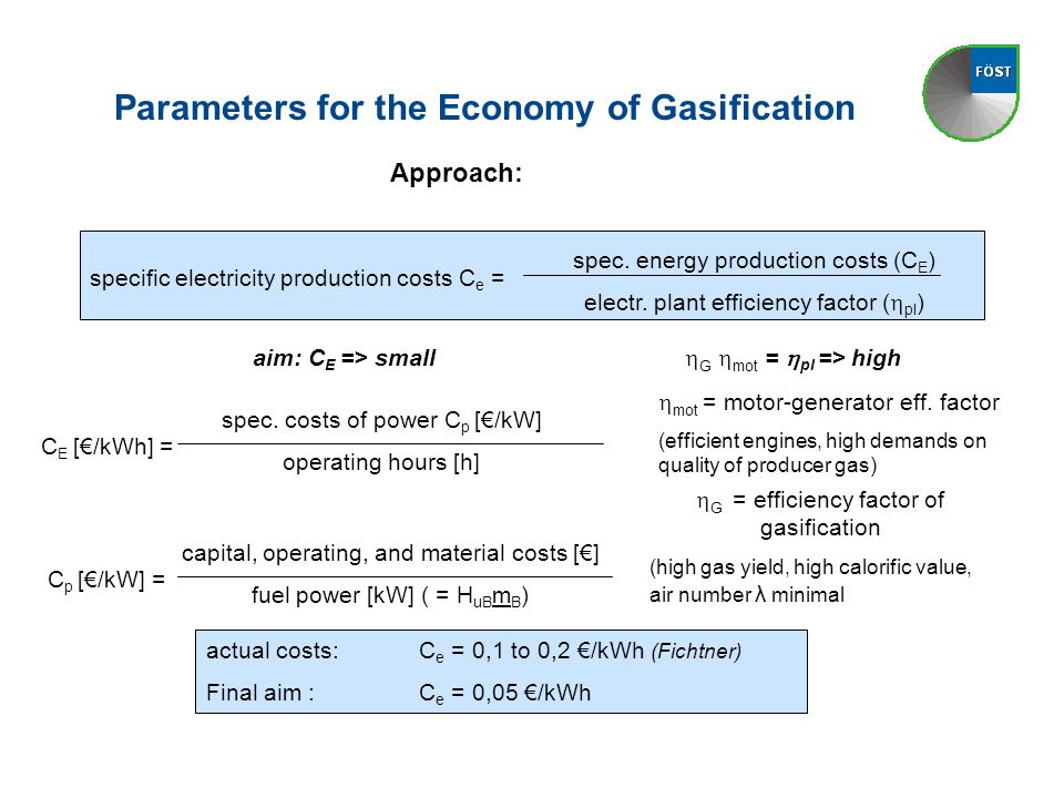 Parameters for the Economy of Gasification specific electricity production costs C e = spec.