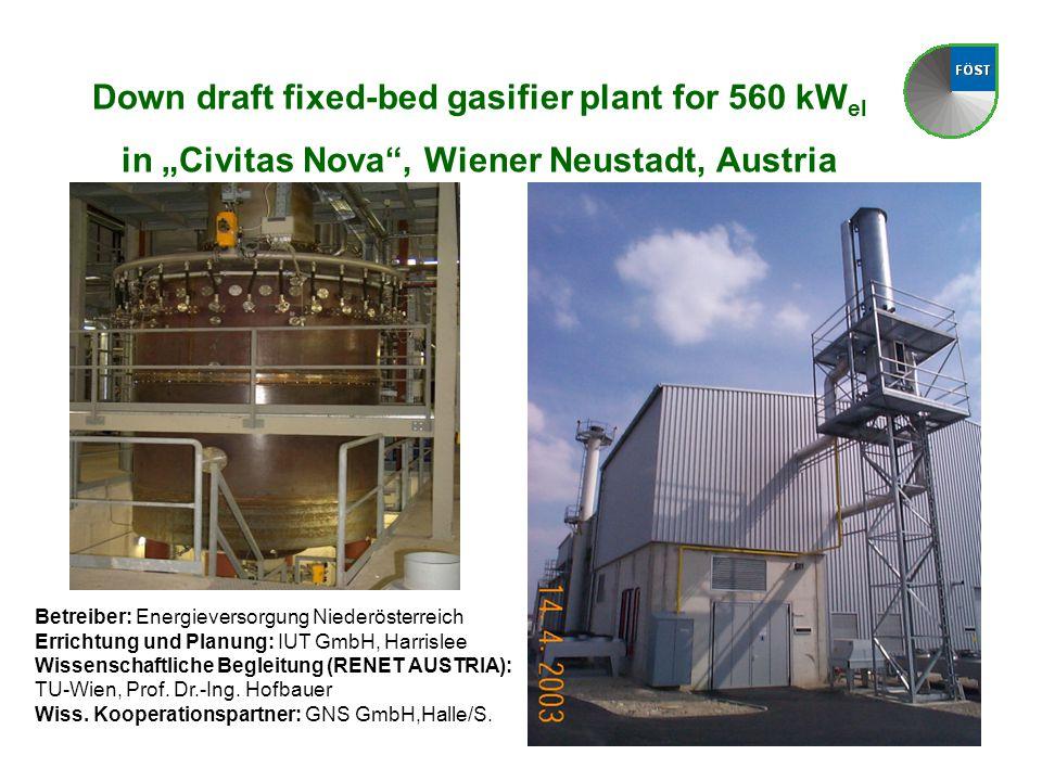 """Down draft fixed-bed gasifier plant for 560 kW el in """"Civitas Nova , Wiener Neustadt, Austria Betreiber: Energieversorgung Niederösterreich Errichtung und Planung: IUT GmbH, Harrislee Wissenschaftliche Begleitung (RENET AUSTRIA): TU-Wien, Prof."""