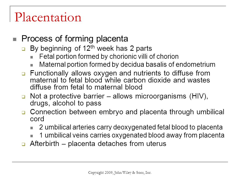 Copyright 2009, John Wiley & Sons, Inc. Placentation Process of forming placenta  By beginning of 12 th week has 2 parts Fetal portion formed by chor