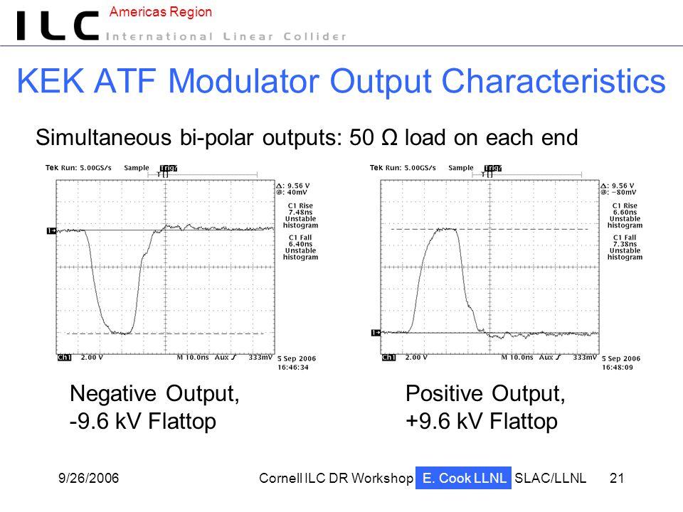 Americas Region 9/26/2006Cornell ILC DR WorkshopSLAC/LLNL 21 KEK ATF Modulator Output Characteristics Negative Output, -9.6 kV Flattop Simultaneous bi-polar outputs: 50 Ω load on each end E.