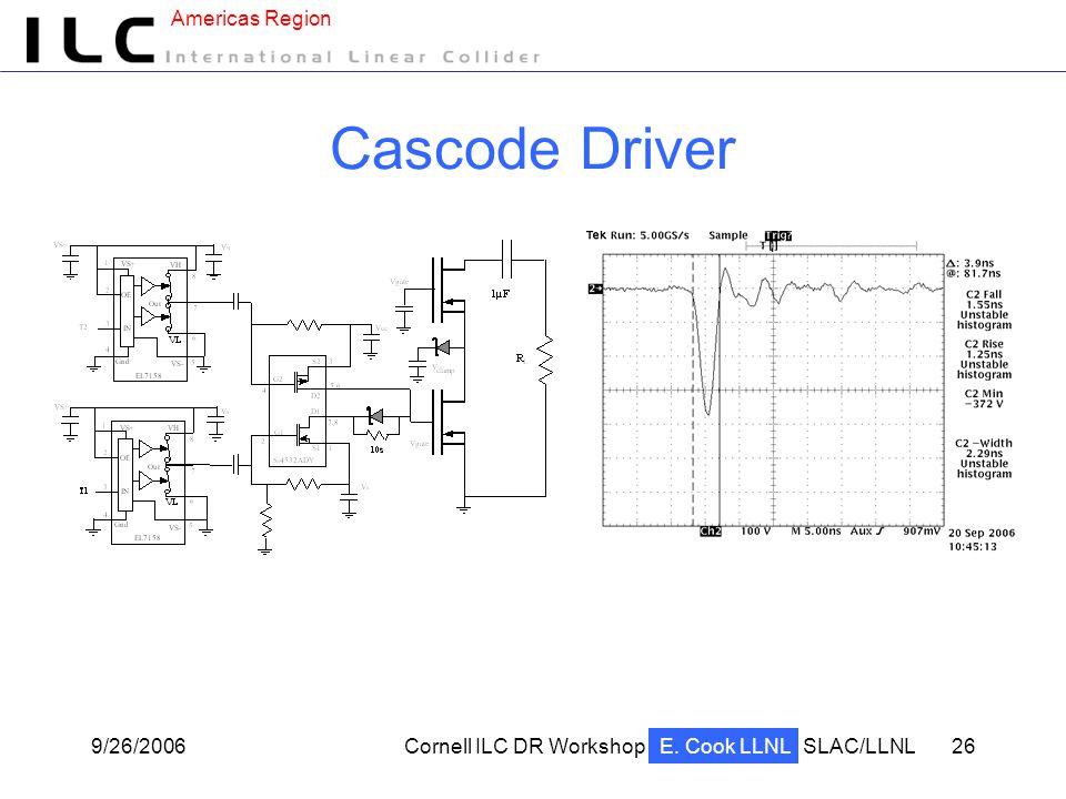 Americas Region 9/26/2006Cornell ILC DR WorkshopSLAC/LLNL 26 Cascode Driver E. Cook LLNL