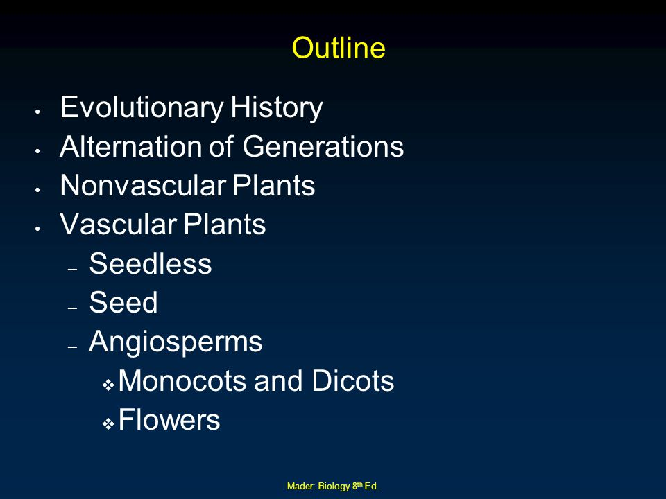 Mader: Biology 8 th Ed. Outline Evolutionary History Alternation of Generations Nonvascular Plants Vascular Plants – Seedless – Seed – Angiosperms  M