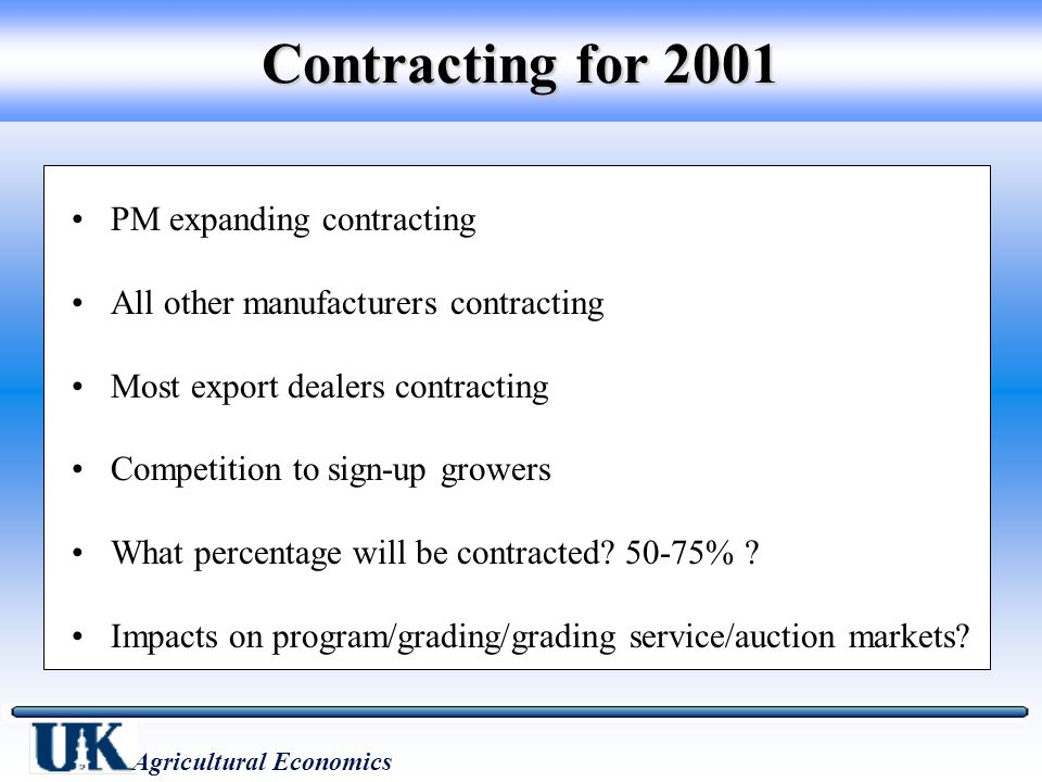 Other Grower Issues (cont.) What will be the degree of buyer competition in awarding contracts.