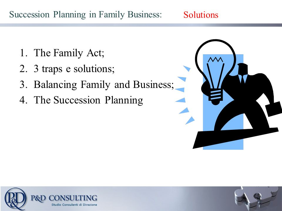 Succession Planning in Family Business: 1.The Family Act; 2.3 traps e solutions; 3.Balancing Family and Business; 4.The Succession Planning Solutions