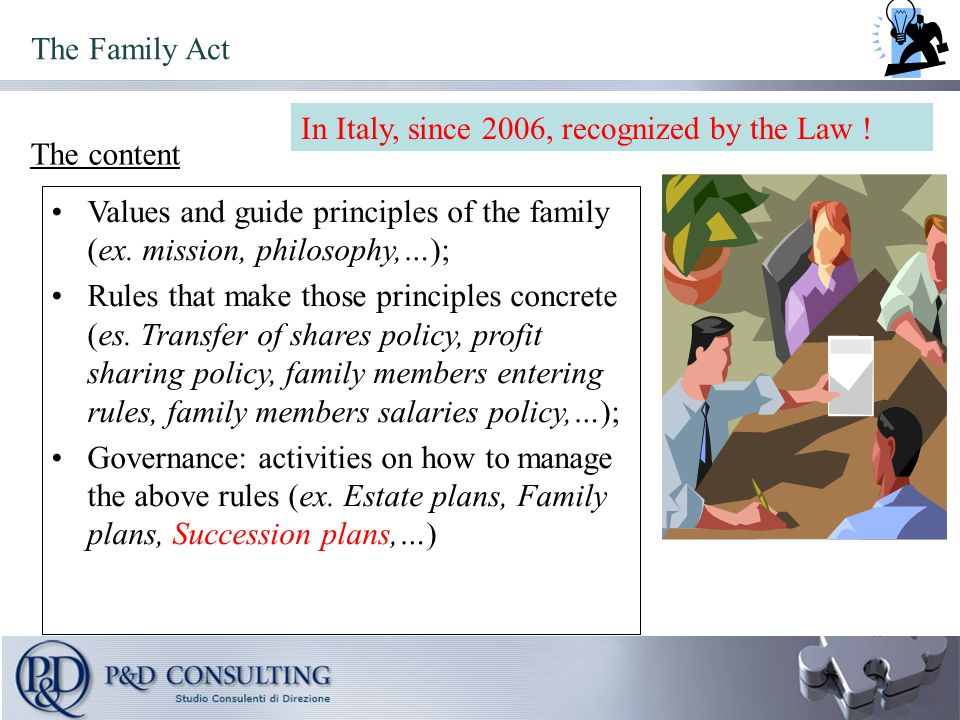 Values and guide principles of the family (ex.