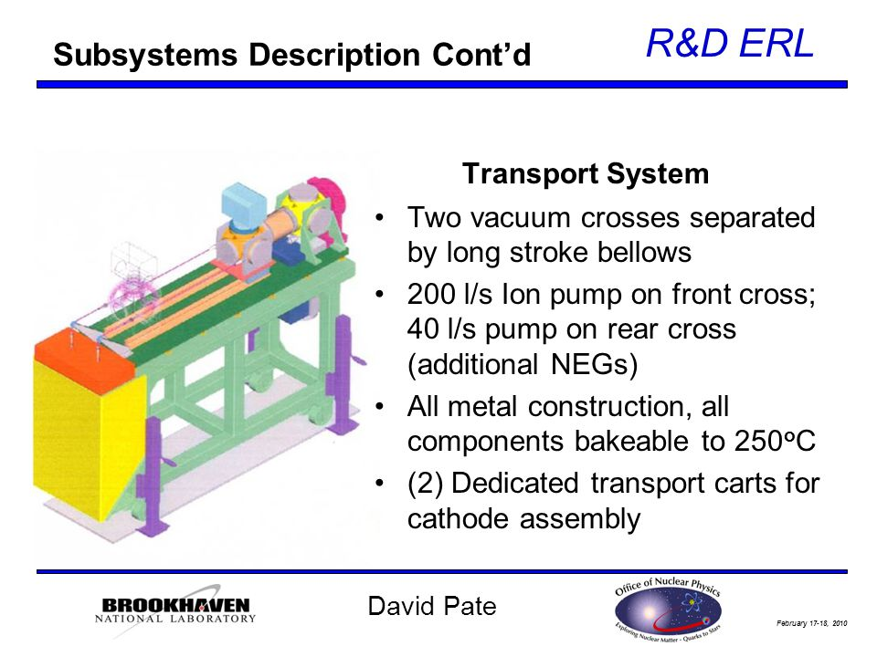 February 17-18, 2010 R&D ERL David Pate Subsystems Description Cont'd Transport System Two vacuum crosses separated by long stroke bellows 200 l/s Ion