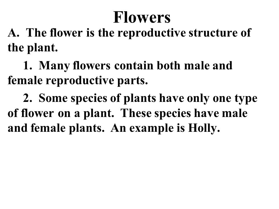 Flowers A. The flower is the reproductive structure of the plant. 1. Many flowers contain both male and female reproductive parts. 2. Some species of