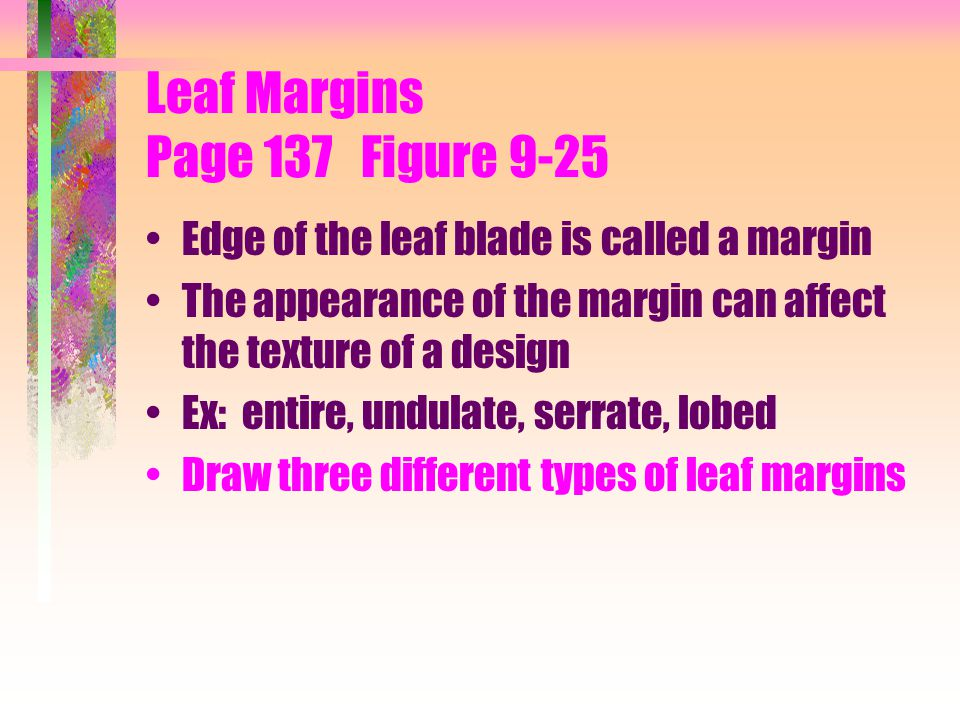 Leaf Margins Page 137 Figure 9-25 Edge of the leaf blade is called a margin The appearance of the margin can affect the texture of a design Ex: entire
