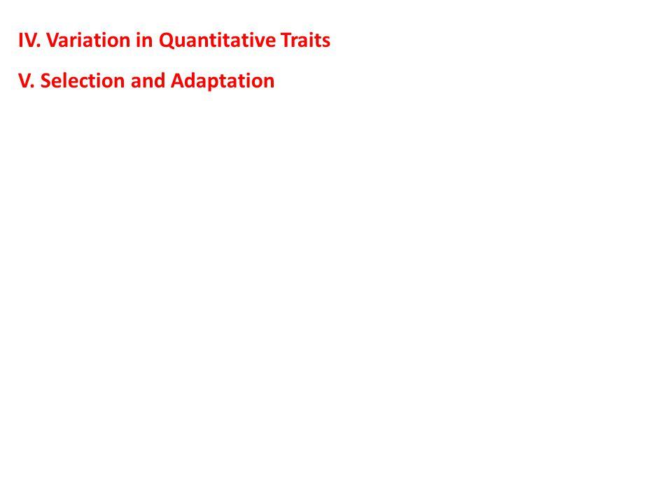 IV. Variation in Quantitative Traits V. Selection and Adaptation