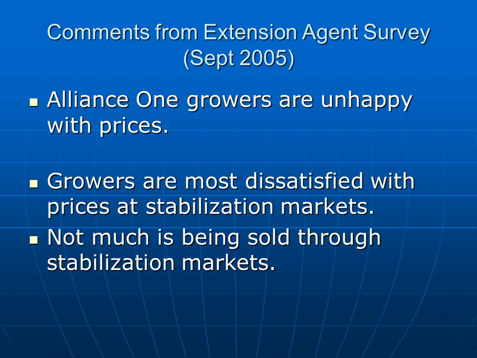 Comments from Extension Agent Survey (Sept 2005) Alliance One growers are unhappy with prices. Alliance One growers are unhappy with prices. Growers a