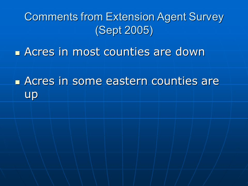 Comments from Extension Agent Survey (Sept 2005) Acres in most counties are down Acres in most counties are down Acres in some eastern counties are up