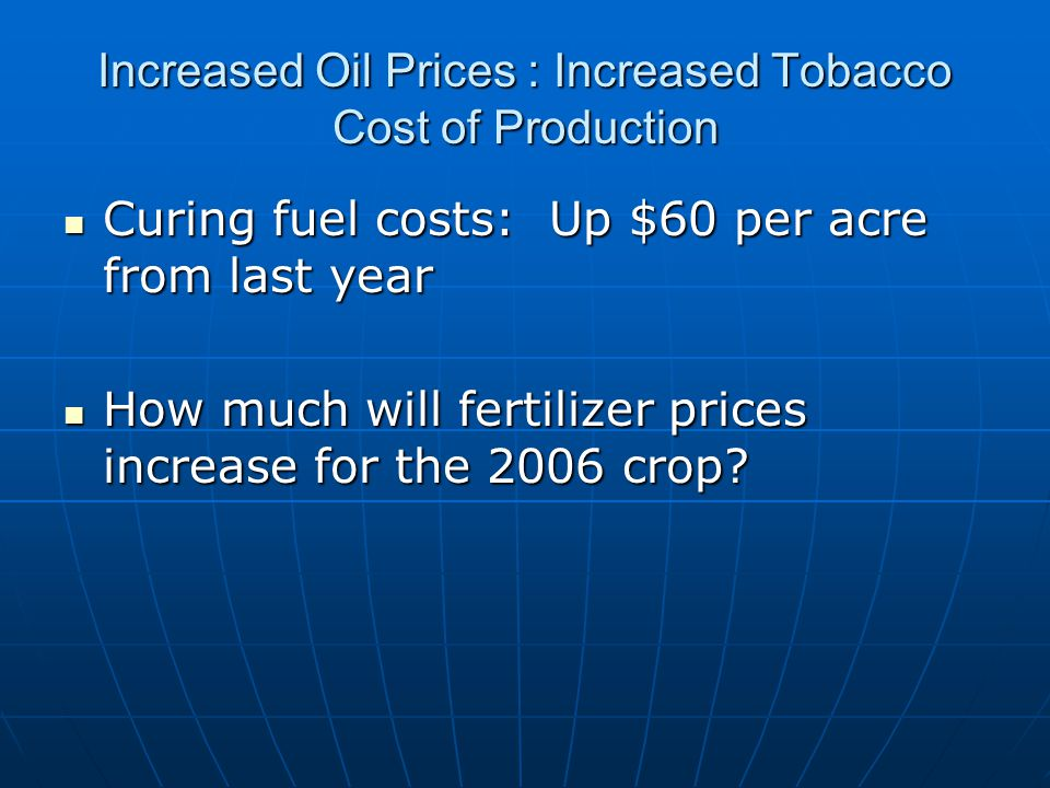 Increased Oil Prices : Increased Tobacco Cost of Production Curing fuel costs: Up $60 per acre from last year Curing fuel costs: Up $60 per acre from