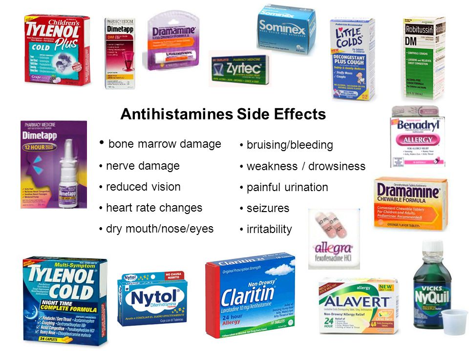 Antihistamines Side Effects bone marrow damage nerve damage reduced vision heart rate changes dry mouth/nose/eyes bruising/bleeding weakness / drowsiness painful urination seizures irritability