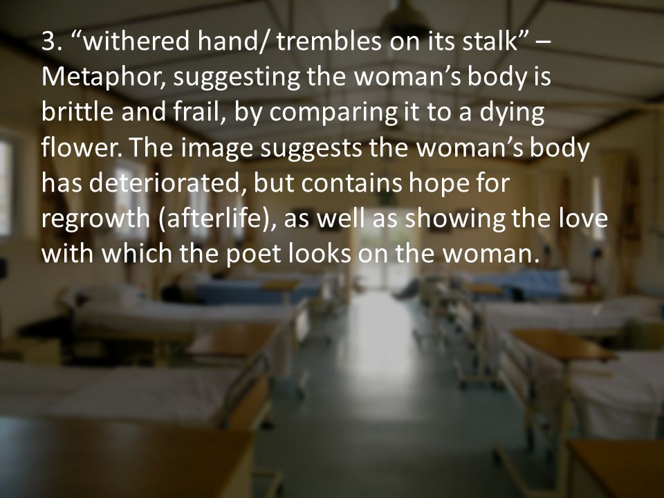 "3. ""withered hand/ trembles on its stalk"" – Metaphor, suggesting the woman's body is brittle and frail, by comparing it to a dying flower. The image s"