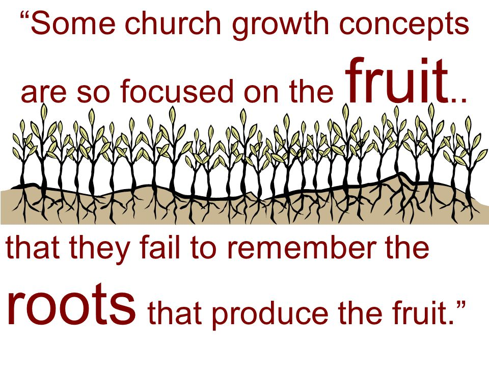 Some church growth concepts are so focused on the fruit..