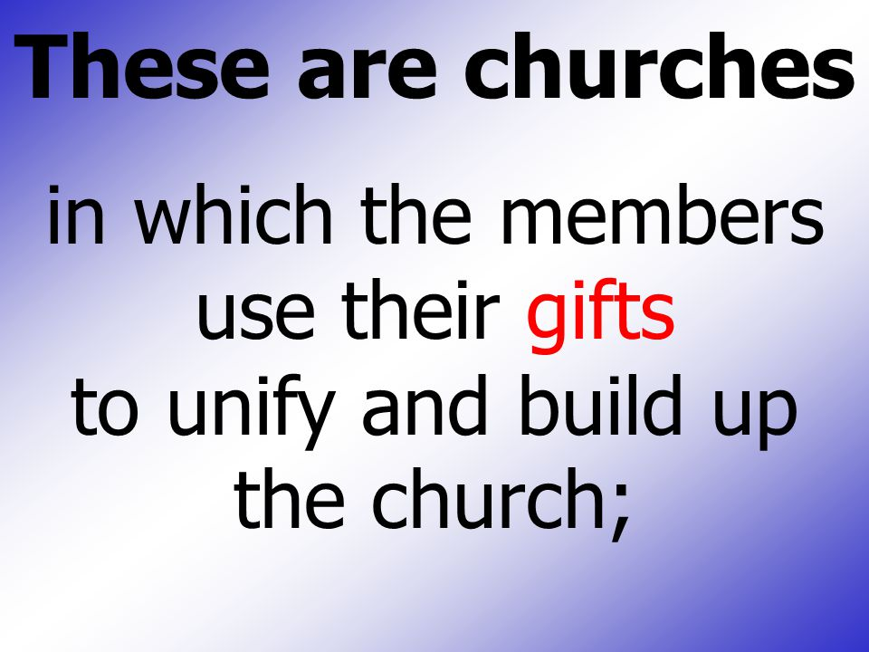 These are churches in which the members use their gifts to unify and build up the church;