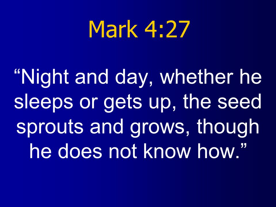 Mark 4:27 Night and day, whether he sleeps or gets up, the seed sprouts and grows, though he does not know how.