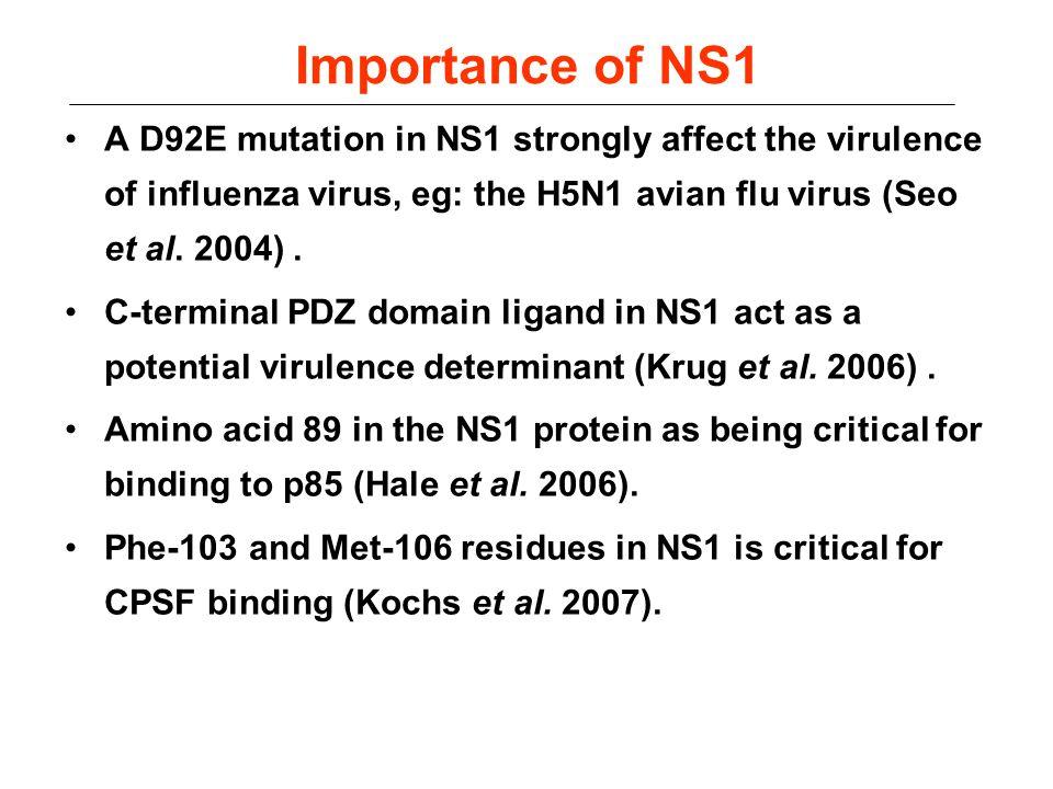 Importance of NS1 A D92E mutation in NS1 strongly affect the virulence of influenza virus, eg: the H5N1 avian flu virus (Seo et al. 2004). C-terminal