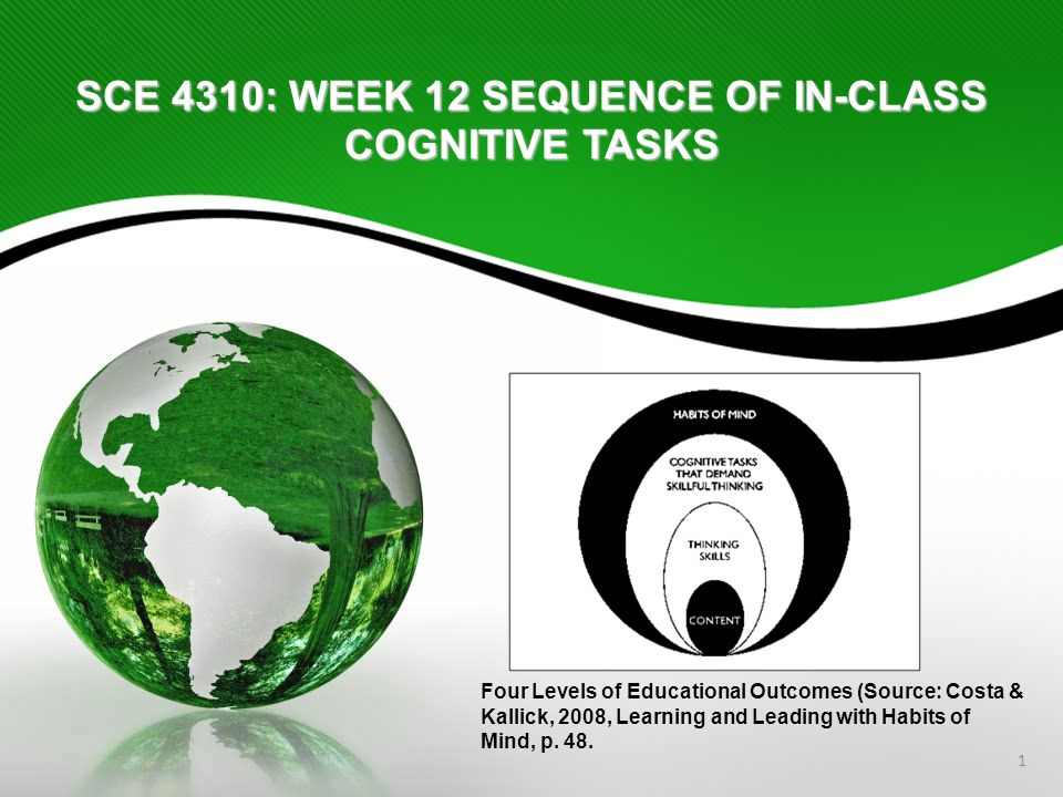 1 SCE 4310: WEEK 12 SEQUENCE OF IN-CLASS COGNITIVE TASKS Four Levels of Educational Outcomes (Source: Costa & Kallick, 2008, Learning and Leading with Habits of Mind, p.