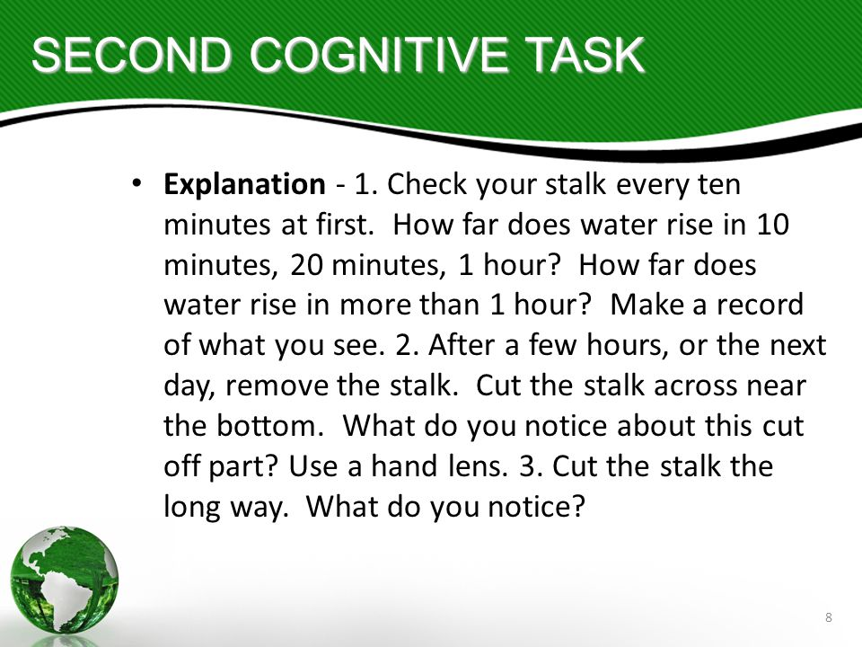 8 SECOND COGNITIVE TASK Explanation - 1. Check your stalk every ten minutes at first.