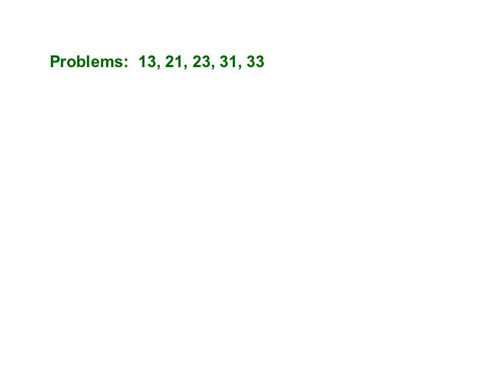 Problems: 13, 21, 23, 31, 33